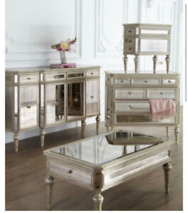 Horchow's Dresden antiqued Mirrored coffee table