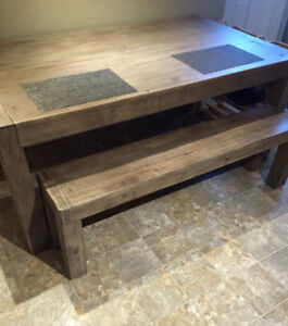 Urban barn dining table and bench