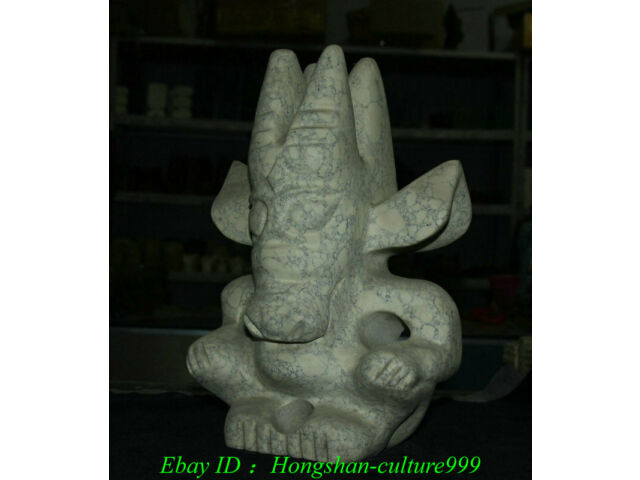 "11"" China Hongshan Culture Old Jade Carving Pig Niu Beast People Person Statue"