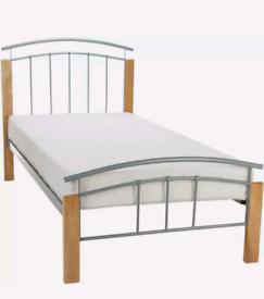 X2 Wood & Metal Silver Single bed TETRAS Frames