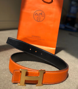 100% Authentic Hermès belt reversible  Orange & Black 100c