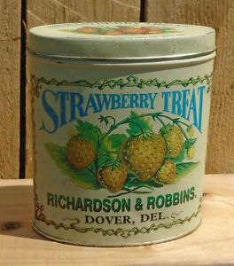 "VINTAGE LOOKING"" REPRODUCTION STRAWBERRY TREAT TIN CAN C.1980's"