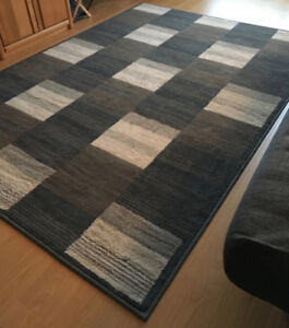 Area Rug (5x8) in brown, creme and blue ($75 or best offer)