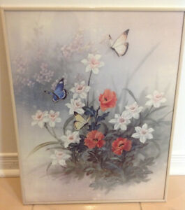 """Floral Picture in Cream Colored Frame, 20"""" x 16"""""""