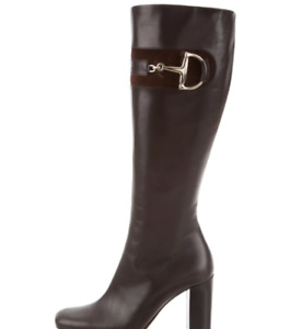 Gucci Leather knee High boots with Gold Gucci Logo