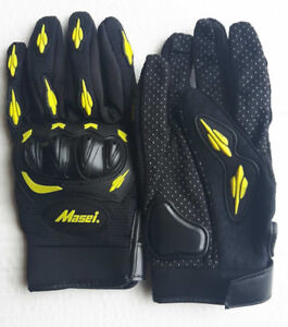new motorcycle gloves yellow and red