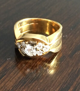 18K yellow and white gold wedding set-appraised at $2800.00