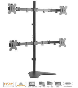 Quad Four 4 Monitors Arms Fully Adjustable Desk Mount Table Top