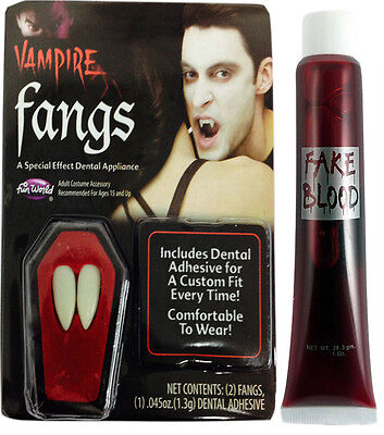 Dracula Vampir Zähnen Halloween Mützen Zähne Künstliches Blut Kleber Kostüm ()