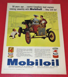 CANADIAN 1960 MOBILOIL AD WITH ANTIQUE FORD MODEL N - VINTAGE