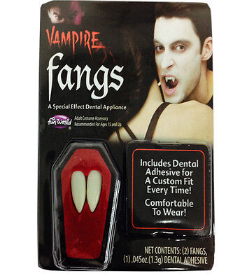 HALLOWEEN VAMPIRE FANGS WHITE CAP TEETH HORROR WITH PUTTY ADHESIVE FANCY DRESS   - Halloween Vampire Fangs With Putty