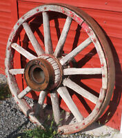 Antique Vintage 1880s WAGON WHEELS with Barrel Axle - $80 for 2!