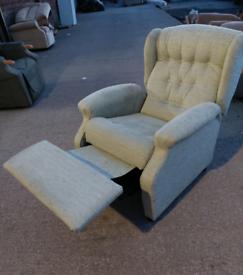 Recliner Chair - Extra Comfy Light Green Fabric Manual Recliner Chair.