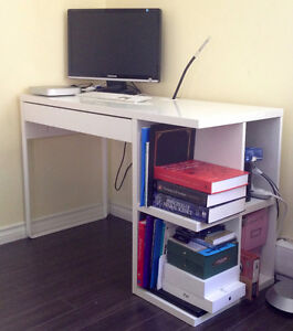 Compact desk with drawer and built in shelves