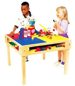 New Kids Wood Lego Table Toy Blocks Building Activty Center 32