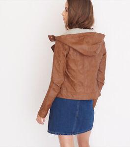 """NEW Hooded Faux leather jacket Camel Brown fit M chest 37-38"""""""