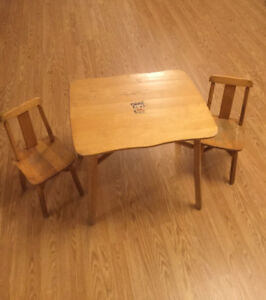 Vintage Wood Childrens Table and Chairs Set