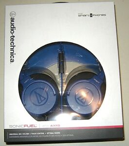 NEW AudioTechnica ATH-AX1iS SonicFuel Over-Ear BLUE Headphones