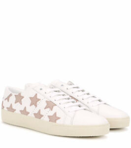 Saint Laurent Leather Court Classic Star Sneakers in Off White