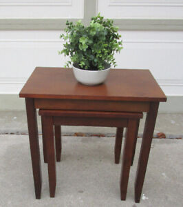 TODAY - 2 SMALL SOLID WOOD NESTING TABLES..