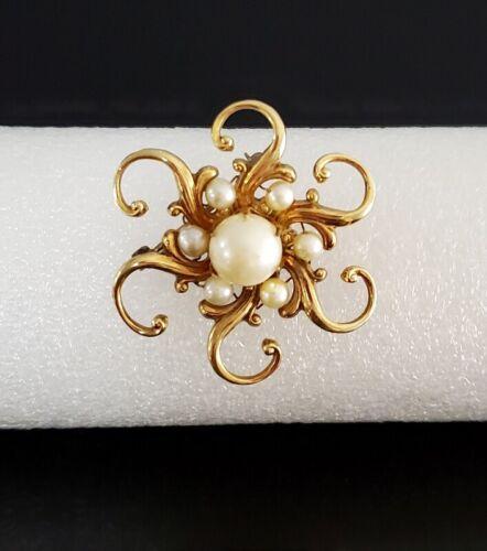 Signed HG Vintage Gold Filled Pearl Brooch Pin 1/20 12K GF