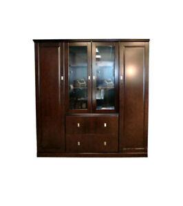 High End Wood Veneer Bookcase & Storage Cabinets