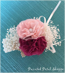 Coffee Filter Flower Wrist Corsage/Wedding Corsage/Wedding