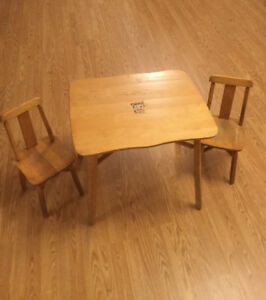 Vintage Solid Wood Child's Table and Chair Set