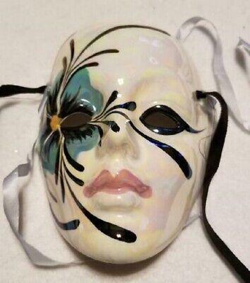 VTG Mardi Gras Ceramic Porcelain Wall Hanging Mask Signed by Jack Logan