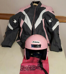 Womens Armoured Motorcycle Jacket size M and Helmet