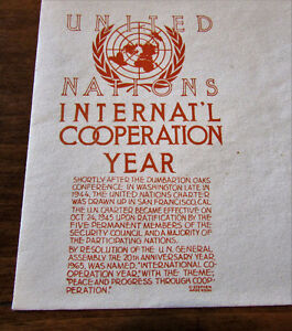 1965 UN International Cooperation Year 5 Cent First Day Cover Kitchener / Waterloo Kitchener Area image 2