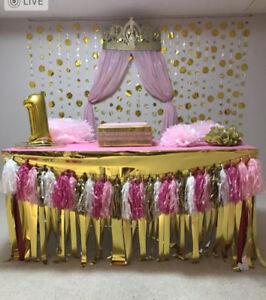 PRINCESS PINK N GOLD BIRTHDAY DECOR COMPLETE SET