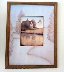 Large framed country farm scenery print wall hanging decor London Ontario image 1