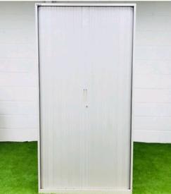 Triumph White Lockable Storage Tambour Cupboard lockable