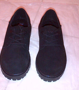 NEW Lands End Black Suede Boys Oxford Dress Casual Shoes 1Y