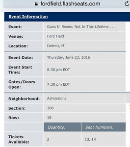 Guns and Roses Tickets Ford Field