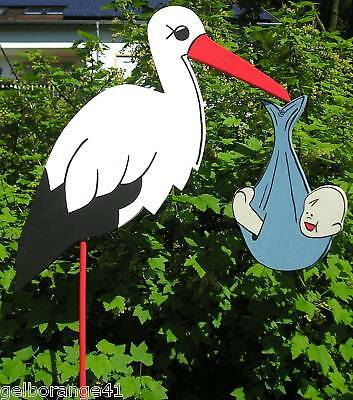 80 cm -  STORCH KLAPPERSTORCH mit  BABY (Blau, Rosa, Gelb oder Grün ) wählbar (Storch Mit Baby)