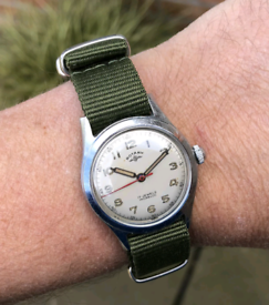 vintage rotary military style watch 1950's serviced