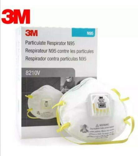 3M 8210V N95 Particulate Respirator W/ Exhalation Valve 10 Masks Box EXP 12/2025