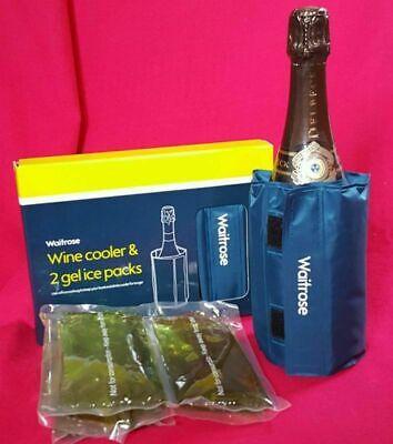 WAITROSE Wine Champagne Bottle Cooler Jacket & 2 Gel Ice Packs