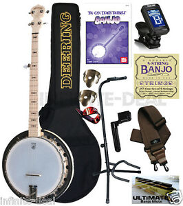 Deering-Goodtime-2-Resonator-Banjo-5-String-Resonator-USA-Maple-Package-Bundle
