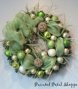 Lime Green & Gold Sparkle Christmas Wreath/ Holiday Wreath Belleville Belleville Area image 1