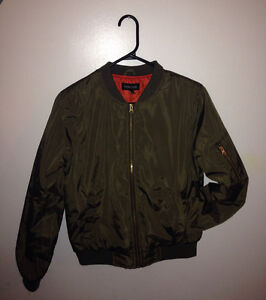 Woman's Army Green Bomber Style Jacket