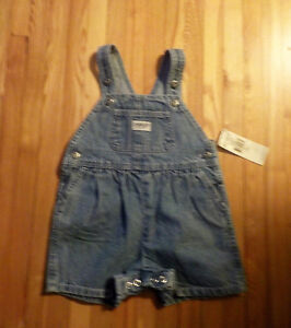OSHKOSH BYGOSH BLUE JEAN OVERALLS NEW WITH TAGS 12 MONTHS