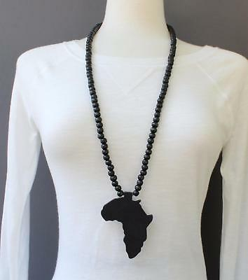 Black wooden africa pendant necklace beads chain african map continent wood long