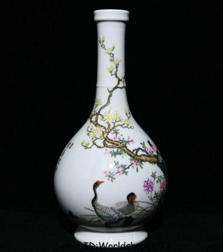 """13.8""""Qianlong Marked China Palace Famile Rose Porcelain Flower Birds Bottle Vase"""