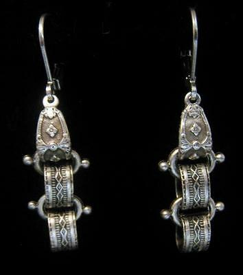 VICTORIAN STYLE BOOKCHAIN EARRINGS SILVER PLATED ETCHED DANGLE LEVER BACK CUSTOM