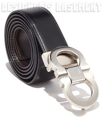 SALVATORE FERRAGAMO black to brown 44 Reversible GANCINI buckle Belt NWT Authent
