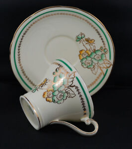 Aynsley 1960's Yellow, Green w/ Gold Floral Corset Teacup Set