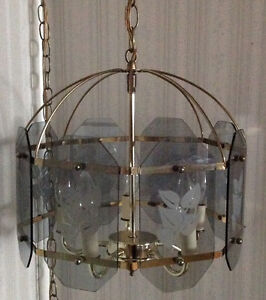 Hanging Decorative Light Fixture Etched Glass and Brass